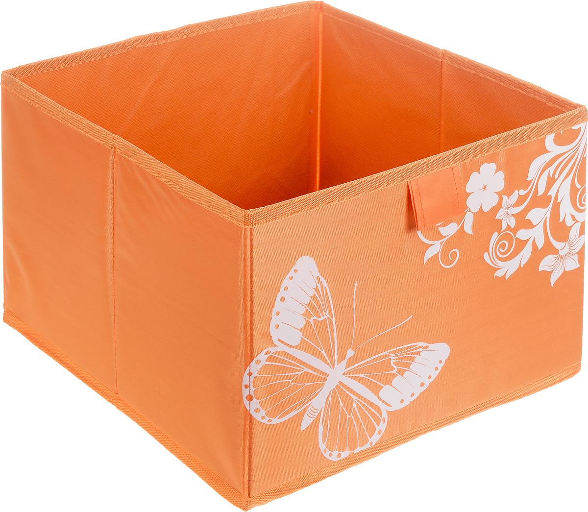 Коробка для хранения Hausmann Butterfly, цвет: оранжевый, 28 х 27 х 20 см4P-106-M4С_оранжевыйКоробка для хранения Hausmann Butterfly поможет легко организовать пространство в шкафу или в гардеробе. Изделие выполнено из нетканого материала и полиэстера. Коробка держит форму благодаря жесткой вставке из картона, которая устанавливается на дно. Боковая поверхность оформлена красивым принтом с изображением бабочек. В такой коробке удобно хранить нижнее белье, ремни и различные аксессуары.