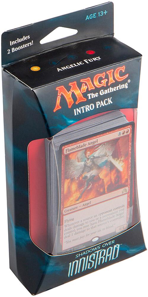 Magic: The Gathering Настольная игра Гнев Ангелов (издание Shadows over Innistrad)B62190001/3Набор включает в себя 60-карточную колоду черных карт, 2 15-карточных бустера издания Тени над Иннистрадом, а также руководство по правилам и вкладыш со стратегией игры колодой на английском языке