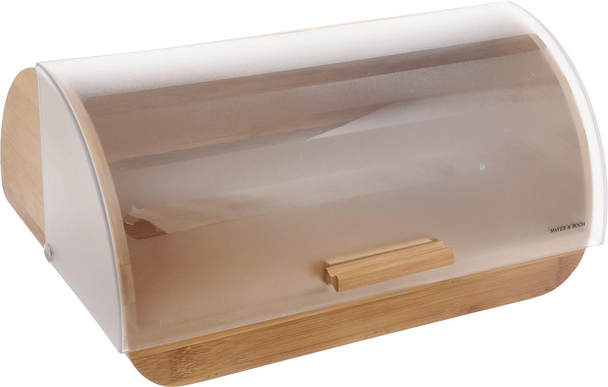 Хлебница Mayer & Boch, 39 х 27 х 19 см23157Хлебница Mayer & Boch изготовлена из натурального бамбука и пластика. Дверца хлебницы имеет матовую поверхность. Крышка плотно и легко закрывается. Изделие оснащено противоскользящими ножками. Стильная хлебница прекрасно впишется в интерьер кухни и надолго сохранит ваш хлеб вкусным и свежим. Не рекомендуется мыть в посудомоечной машине. Размер хлебницы: 39 х 27 х 19 см.