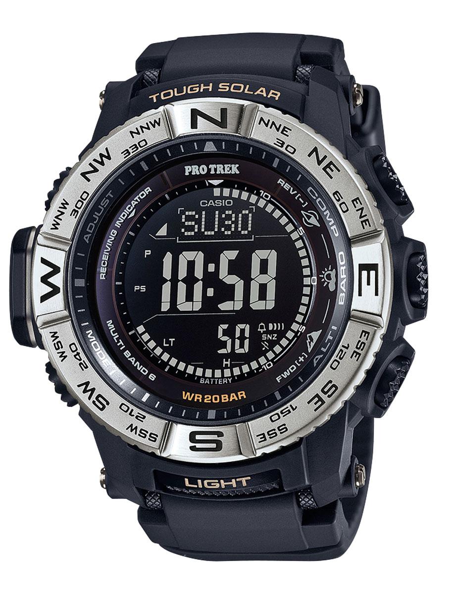 Наручные часы мужской Casio Pro Trek, цвет: черный, стальной. PRW-3510-1EPRW-3510-1E