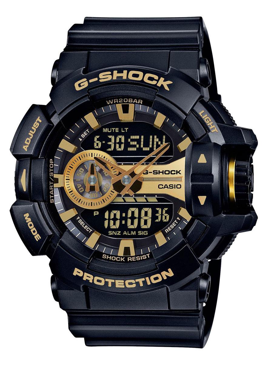 Наручные часы мужской Casio G-Shock, цвет: черный, желто-золотой. GA-400GB-1A9GA-400GB-1A9