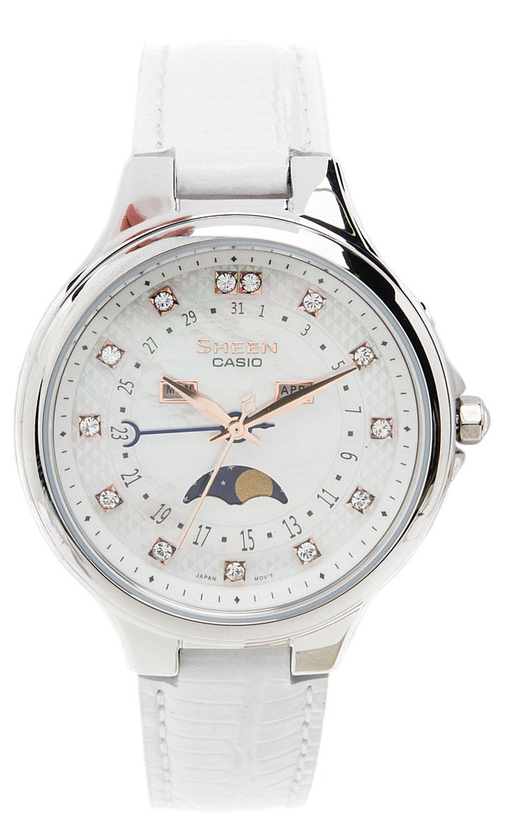 Наручные часы женский Casio Sheen, цвет: белый, стальной. SHE-3045L-7ASHE-3045L-7A