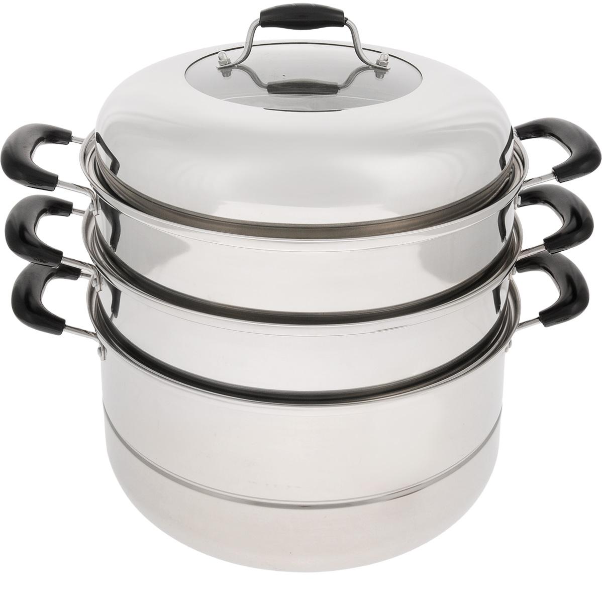Мантоварка Mayer & Boch с крышкой, 3-уровневая, 10,5 л. 34403440Мантоварка Mayer & Boch изготовлена из высококачественной нержавеющей стали, что делает посуду износостойкой, прочной и практичной. Зеркальная полировка придает изделию особо эстетичный внешний вид. Мантоварка имеет 3 уровня: кастрюлю для бульона, 2 съемные секции с отверстиями и сетку. Изделие снабжено эргономичными бакелитовыми ручками, которые обеспечивают комфортное использование. Крышка, выполненная из нержавеющей стали и жаропрочного стекла, оснащена удобной ручкой и небольшими отверстиями для выпуска пара. Глубина изделия, диаметр отверстий, объем специально предназначены для приготовления мантов. В мантоварке также можно готовить и другие блюда: овощи, котлеты или пельмени. Готовить на пару очень просто, продукты не пригорают и не склеиваются, а готовое блюдо выходит рассыпчатым и ароматным. Питательные элементы и витамины не растворяются в воде, а остаются в продуктах. Еда получается не только полезной, но и по-настоящему вкусной. ...