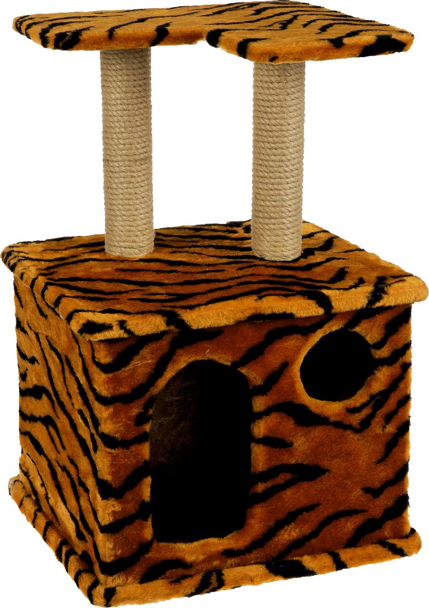 Игровой комплекс для кошек Меридиан, с фигурной полкой и домиком, цвет: оранжевый, черный, бежевый, 45 х 36 х 69 смД124 ТИгровой комплекс для кошек Меридиан выполнен из высококачественного ДВП и ДСП и обтянут искусственным мехом. Изделие предназначено для кошек. Ваш домашний питомец будет с удовольствием точить когти о специальный столбик, изготовленный из джута. А отдохнуть он сможет либо на полке, находящейся наверху столбика, либо в расположенном внизу домике. Общий размер: 45 х 36 х 69 см. Размер полки: 40 х 31 см. Размер домика: 45 х 36 х 37 см.