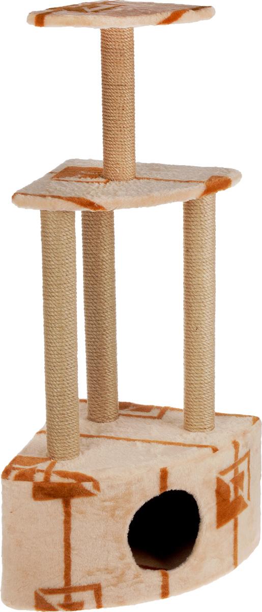 Игровой комплекс для кошек Меридиан, 3-ярусный, угловой, с домиком и когтеточкой, цвет: бежевый, коричневый, 59 х 43 х 111 смД431 ГИгровой комплекс для кошек Меридиан выполнен из высококачественного ДВП и ДСП и обтянут искусственным мехом. Изделие предназначено для кошек. Комплекс имеет 3 яруса. Ваш домашний питомец будет с удовольствием точить когти о специальные столбики, изготовленные из джута. А отдохнуть он сможет либо на полках, либо в расположенном внизу домике. Общий размер: 59 х 43 х 111 см. Размер домика: 59 х 43 х 28 см. Размер большой полки: 48 х 35 см. Размер малой полки: 34 х 25 см.