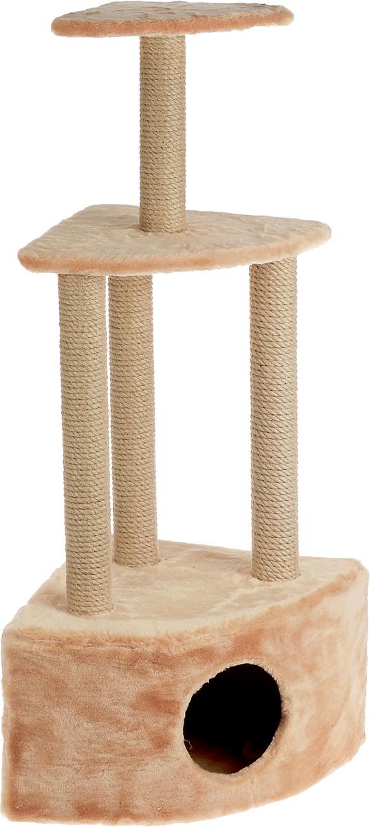 Игровой комплекс для кошек Меридиан, 3-ярусный, угловой, с домиком и когтеточкой, цвет: светло-коричневый, бежевый, 59 х 43 х 111 смД431 СКИгровой комплекс для кошек Меридиан выполнен из высококачественного ДВП и ДСП и обтянут искусственным мехом. Изделие предназначено для кошек. Комплекс имеет 3 яруса. Ваш домашний питомец будет с удовольствием точить когти о специальные столбики, изготовленные из джута. А отдохнуть он сможет либо на полках, либо в расположенном внизу домике. Общий размер: 59 х 43 х 111 см. Размер домика: 59 х 43 х 28 см. Размер большой полки: 48 х 35 см. Размер малой полки: 34 х 25 см.