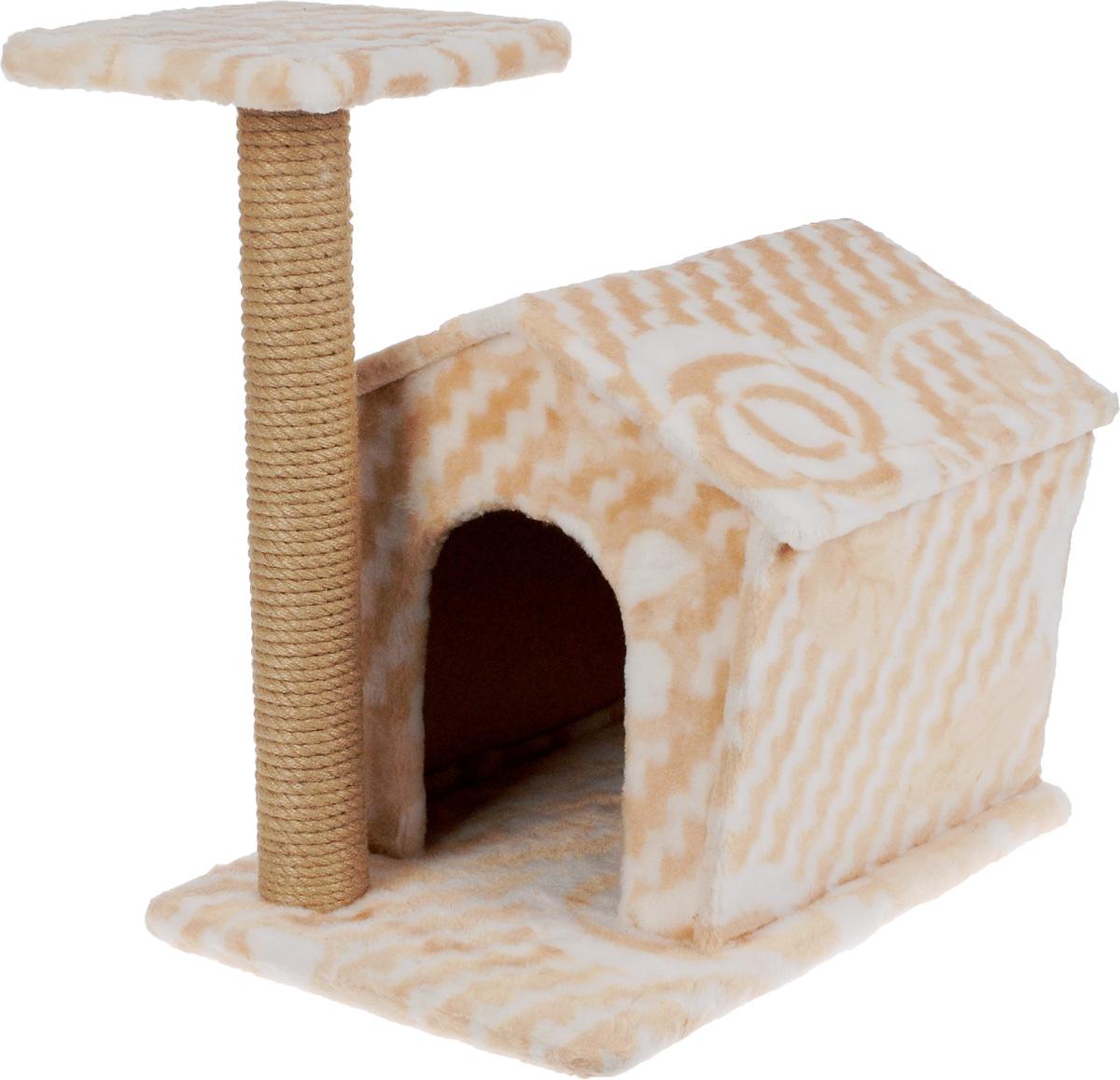 Игровой комплекс для кошек Меридиан Изба, с когтеточкой и домиком, цвет: бежевый, белый, 50 х 35 х 54 смД372 ЦвИгровой комплекс Меридиан Изба выполнен из высококачественного ДВП и ДСП и обтянут искусственным мехом. Изделие предназначено для кошек. Ваш домашний питомец будет с удовольствием точить когти о специальный столбик, изготовленный из джута. А отдохнуть она сможет либо на площадке, находящейся наверху столбика, либо в расположенном внизу домике. Общий размер: 50 х 35 х 54 см. Размер домика: 40 х 36 х 36 см. Размер площадки: 24 х 24 см.