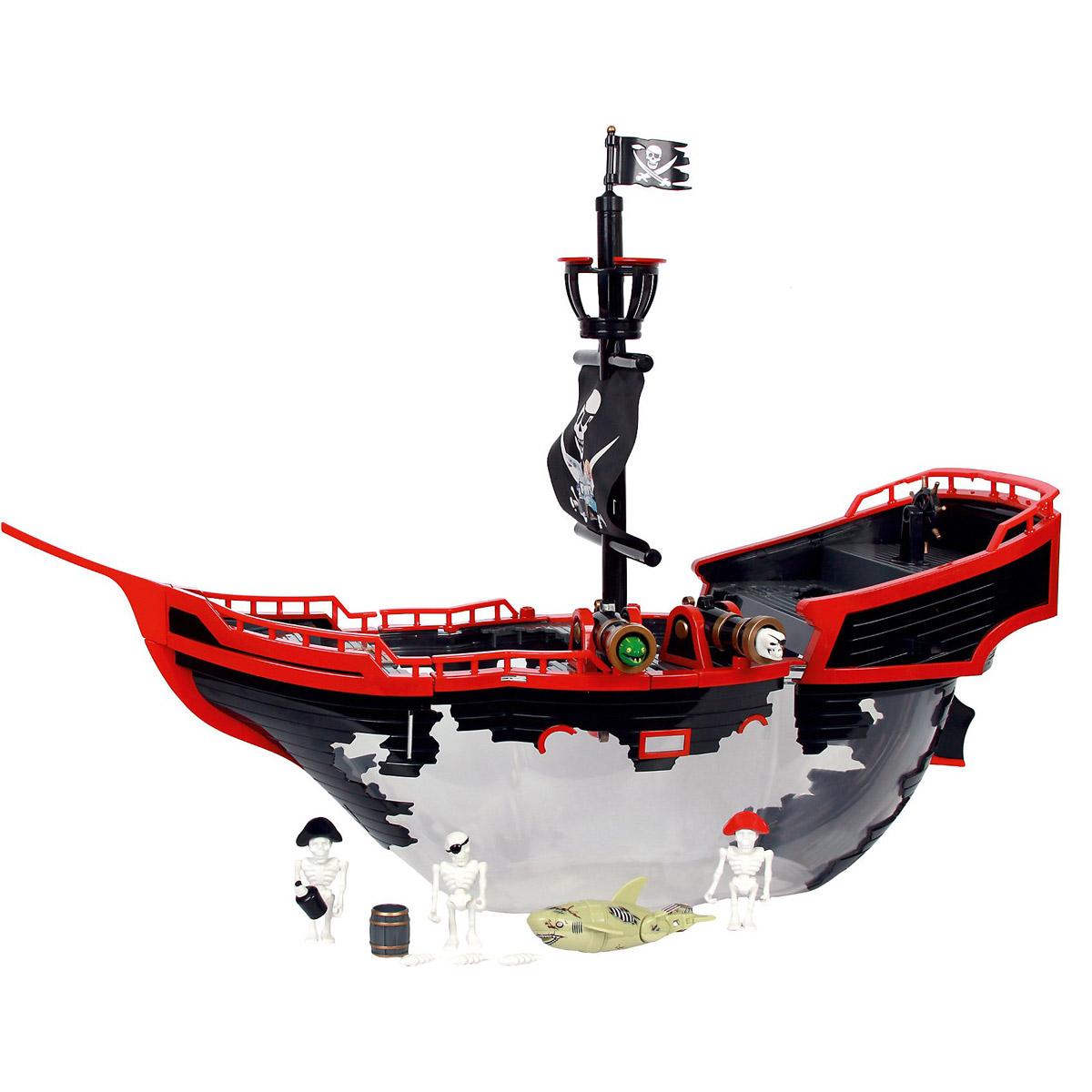Redwood Игровой набор Набор Корабль-призрак147261В наборе: - Корабль-аквариум (объем 5 литров) - Акула-акробат, 12см - Фигурки скелетов - 3шт. - Бочка с провиантом Штурвал крутится. Акула при движении в воде активирует: - Пиратский парус – поднимается и сбрасывает скелет с мачты - Пушки корабля – заряжаются и стреляют черепами. - Бочка с «провиантом» – падает рассыпая содержимое в воду Габариты аквариума-корабля: 50 x 35 x 25 см Размер упаковки: 51х18х26 см Тип батареек для акулы AAA(LR03)X2 шт