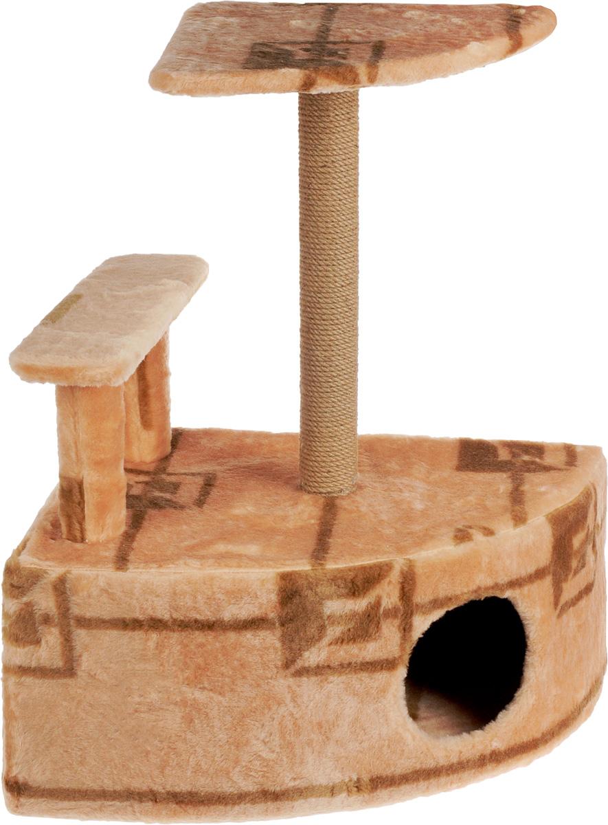 Игровой комплекс для кошек Меридиан, угловой, с домиком и когтеточкой, цвет: коричневый, бежевый, 58 х 48 х 79 смД421 ГИгровой комплекс для кошек Меридиан выполнен из высококачественного ДВП и ДСП и обтянут искусственным мехом. Изделие предназначено для кошек. Комплекс оснащен ступенькой. Ваш домашний питомец будет с удовольствием точить когти о специальный столбик, изготовленный из джута. А отдохнуть он сможет либо на полке, находящейся наверху столбика, либо в расположенном внизу домике. Общий размер: 58 х 48 х 79 см. Размер полки: 37 х 37 см. Высота ступеньки: 23 см. Размер домика: 58 х 48 х 28 см.