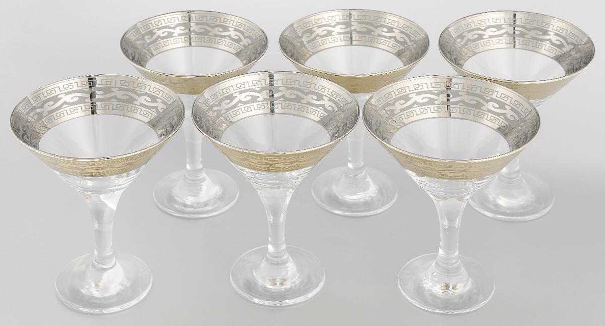Набор бокалов для мартини Гусь-Хрустальный, 170 мл, 6 шт. 08-41008-410 жеНабор Гусь-Хрустальный состоит из 6 бокалов, изготовленных из высококачественного натрий-кальций-силикатного стекла. Изделия оформлены красивой широкой окантовкой с узором. Бокалы предназначены для подачи мартини. Такой набор прекрасно дополнит праздничный стол и станет желанным подарком в любом доме. Можно мыть в посудомоечной машине. Диаметр бокала (по верхнему краю): 10,5 см. Высота бокала: 13,5 см. Диаметр основания бокала: 6,5 м. Уважаемые клиенты! Обращаем ваше внимание на незначительные изменения в дизайне товара, допускаемые производителем. Поставка осуществляется в зависимости от наличия на складе.