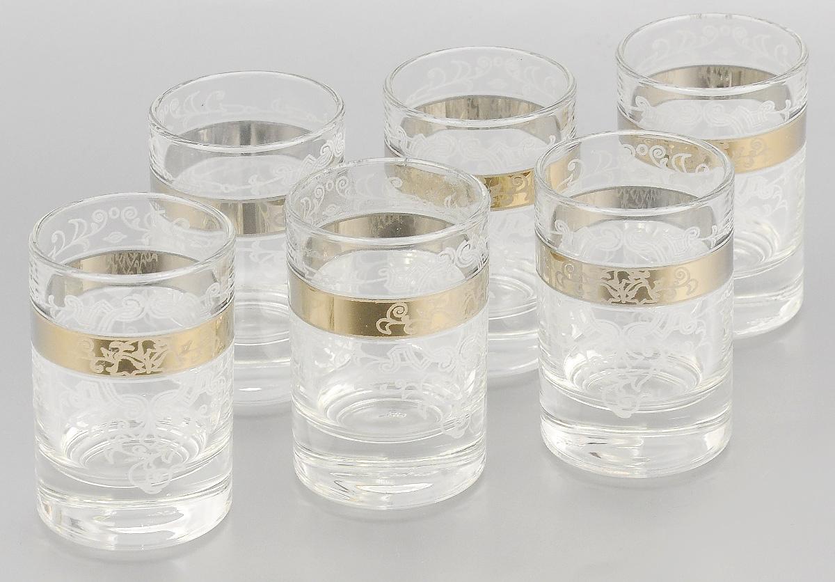 Набор стопок для водки Мусатов Бьюти, 60 мл, 6 шт1022/05Набор Мусатов Бьюти состоит из 6 стопок, изготовленных из высококачественного натрий-кальций-силикатного стекла. Изделия оформлены красивым зеркальным покрытием и оригинальным орнаментом. Такой набор прекрасно дополнит праздничный стол и станет желанным подарком в любом доме. Можно мыть в посудомоечной машине. Диаметр стопки (по верхнему краю): 4,5 см. Высота стопки: 6,5 см.