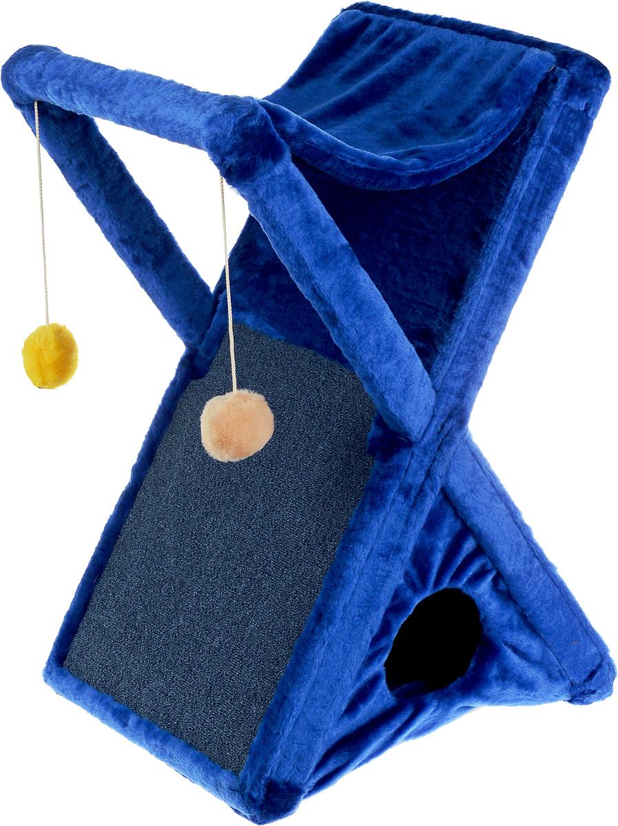 Когтеточка ЗооМарк Икс, цвет: синий, 48 х 41 х 74 см124Когтеточка ЗооМарк Икс поможет сохранить мебель и ковры в доме от когтей вашего любимца, стремящегося удовлетворить свою естественную потребность точить когти. Когтеточка изготовлена из дерева и обтянута мягким искусственным мехом. Внизу имеется домик для питомца, сверху лежак, по форме похожий на гамак. Сбоку расположена когтеточка, выполненная из прочного ковролина, а над ней 2 игрушки, которые привлекут внимание питомца. Товар продуман в мельчайших деталях и, несомненно, понравится вашей кошке. Всем кошкам необходимо стачивать когти. Когтеточка - один из самых необходимых аксессуаров для кошки. Она поможет вашему любимцу стачивать когти и при этом не портить вашу мебель.