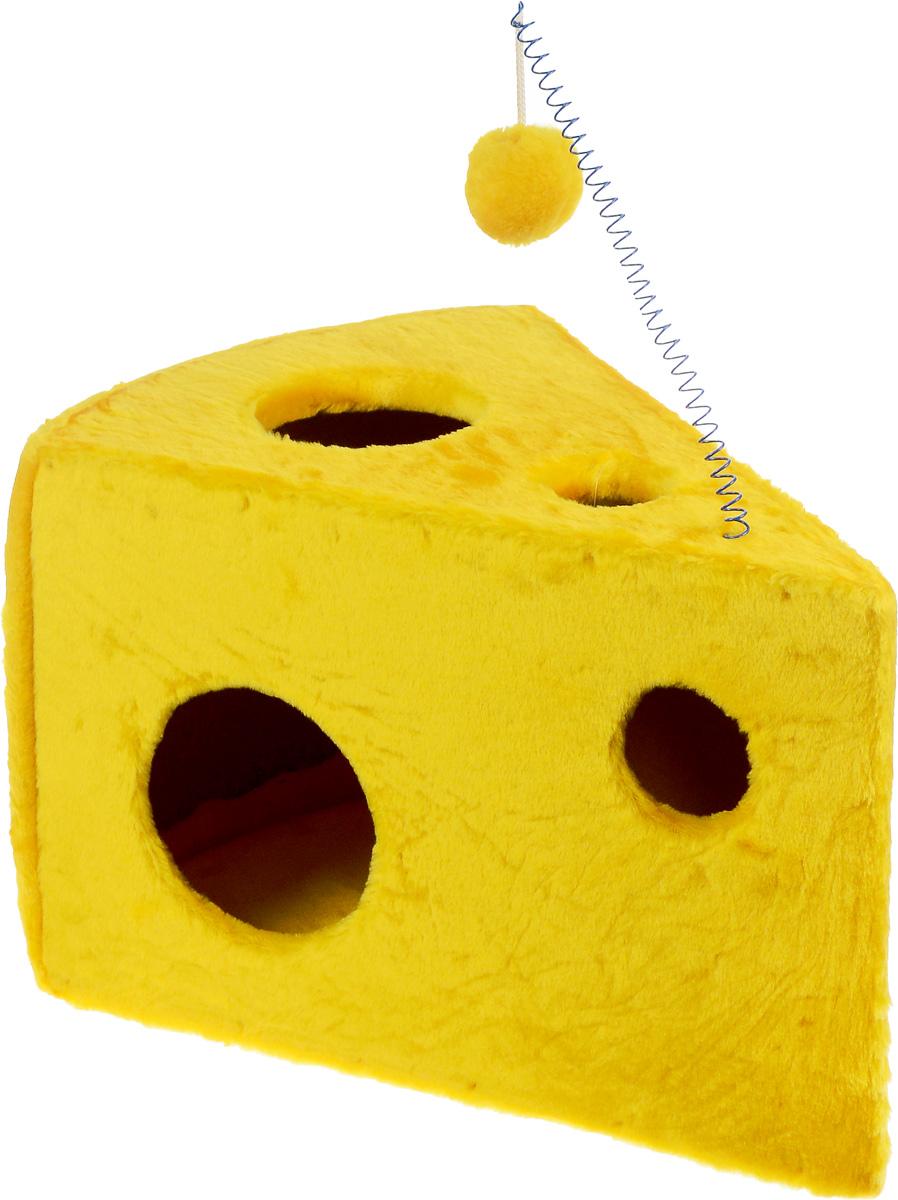 Домик-когтеточка ЗооМарк Кусочек сыра, 58 х 40 х 36 см107Домик-когтеточка для кошек ЗооМарк Кусочек сыра выполнен из дерева и обтянут искусственным мехом. Сзади расположена вставка из ковролина, которая используется в качестве когтеточки. Изделие имеет оригинальный дизайн и выглядит как кусочек сыра с дырками. Оригинальный домик-когтеточка - это отличное место, чтобы спрятаться. Также там можно хранить свои охотничьи трофеи. Домик оснащен подвесной игрушкой.