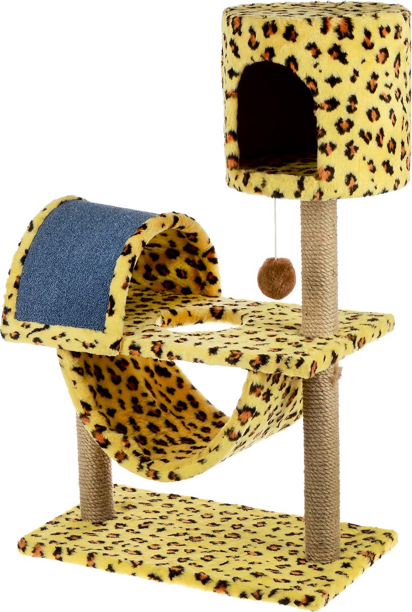 Игровой комплекс для кошек ЗооМарк Кузя, цвет: желтый, коричневый, черный, 69 х 37 х 102 см142Игровой комплекс для кошек ЗооМарк Кузя прекрасно подойдет для животного, которое длительное время остается одно дома. Обеспечивая уютное место для сна и отдыха, комплекс является отличной игровой площадкой для развлечения скучающего животного. Комплекс изготовлен из дерева и обтянут искусственным мехом. Когтеточка из ковролина на длительное время отвлечет вашу кошку от мягкой мебели и обоев в доме, а подвесная игрушка развлечет питомца. Комплекс имеет несколько ярусов и домик, в котором ваш питомец сможет отдохнуть после игр. Общий размер комплекса: 69 х 37 х 102 см. Размер домика: 31 х 31 х 29 см.