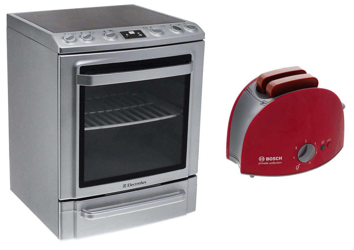 Klein Игрушечная плита Electrolux + Игрушечный тостер Bosch в подарок9477ПЕсли ваш ребенок любит помогать маме на кухне, играть с посудой, варить и жарить, но вам приходится ограничивать его в игре с бьющимися предметами кухонной утвари, то эта плита создана специально для юного повара. Игрушечная плита Klein Electrolux является уменьшенной копией настоящей кухонной плиты. Она оснащена четырьмя варочными поверхностями, выдвижной решеткой, открывающейся духовкой и выдвигающимся нижним отсеком. На панели расположены лампочка, кнопка для включения плиты и шесть ручек, две из которых поворачиваются со звуком трещотки. При включении плиты подсвечиваются варочные поверхности и лампочка на панели, а из духовки раздаются характерные звуки работающей плиты. С такой плитой ваш ребенок сможет устроить для своих игрушек удивительный обед. Порадуйте его таким замечательным подарком! Необходимо купить 3 батарейки напряжением 1,5V типа АА (не входят в комплект). В подарок вы получите игрушечный тостер Bosch - копию оригинального тостера....
