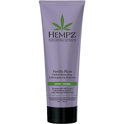 Hempz Шампунь растительный Ваниль и Слива средней степени увлажнения для ослабленных волос Vanilla Plum Herbal Shampoo 265 мл120-2410-03Шампунь растительный увлажняющий и укрепляющий «Ваниль и Слива», 265мл Растительный увлажняющий и укрепляющий шампунь средней степени увлажнения для ослабленных окрашенных волос. Подходит для частого использования. Без сульфатов - для максимального сохранения цвета окрашенных волос. Без парабенов и глютенов. 100% Веган.