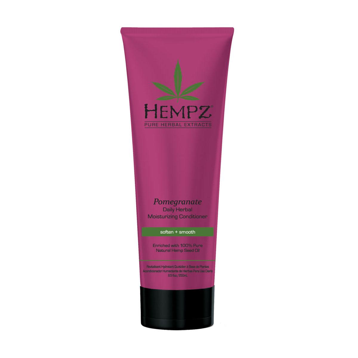 Hempz Кондиционер растительный увлажняющий и разглаживающий ганат Daily Herbal Moisturizing Pomegranate Conditioner 265 мл120-2435-03Делает волосы гладкими, сильными и послушными, не утяжеляя их. Масло и экстракт семян конопли наполняют волосы влагой, утерянной вследствие частого применения горячего фена или щипцов. Кунжутное и соевое масла глубоко питают и обеспечивают здоровый блеск волосам. Пантенол, кукурузное масло, протеины сои и пшеницы наполняют волосы жизненно важными питательными веществами. UV защита препятствует выгоранию цвета окрашенных и натуральных волос.