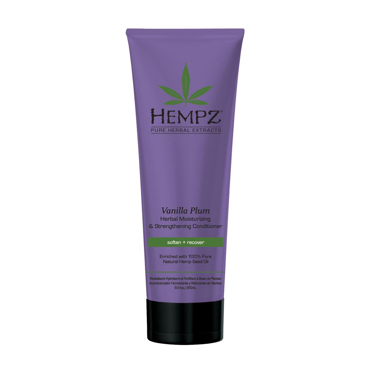 Hempz Кондиционер растительный увлажняющий и укрепляющий Ваниль и Слива Vanilla Plum Herbal Conditioner 265 мл120-2436-03Кондиционер средней степени увлажнения для ослабленных волос. Кондиционер заряжает Ваши волосы энергией, возвращает мягкость и блеск тусклым волосам. Без сульфатов для максимального сохранения цвета окрашенных волос.