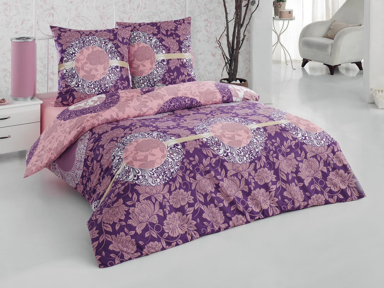 Комплект белья Tete-a-Tete Нега, 1,5-спальный, наволочки 70х70, цвет: фиолетовый. К-8063п + простыня в подарокК-8063п