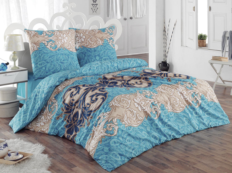 Комплект белья Tete-a-Tete Морозко, евро, наволочки 70х70, цвет: голубой. К-8067п + простыня в подарокК-8067п