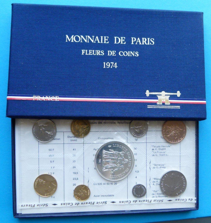 Годовой набор монет Fleurs de coins. Парижский монетный двор. Франция, 1974 год (UNC)791504Годовой набор монет Fleurs de coins. Парижский монетный двор. Франция, 1974 год (UNC). Набор составили монеты номиналом: 50 франков (белый металл; диаметр 4,1 см; вес 30 г), 10 франков (медь-никель; диаметр 2,6 см; вес 10 г), 5 франков (медь-никель; диаметр 2,9 см; вес 10 г), 1 франк (никель; диаметр 2,4 см; вес 6 г), 1,2 франка (никель; диаметр 1,95 см; вес 4,5 см), 20 сантимов (медь; диаметр 2,35 см; вес 4 г), 10 сантимов (медь; диаметр 2 см; вес 3 г), 5 сантимов (медь; диаметр 1,7 см; вес 2 г), 1 сантим (нержавеющая сталь; диаметр 1,5 см; вес 1,65 г). Сохранность монет - Uncirculated (UNC) / Превосходная. Монеты хранятся в оригинальном футляре и в слюде. Размер футляра 19,5 х 11,5 х 1,2 см.