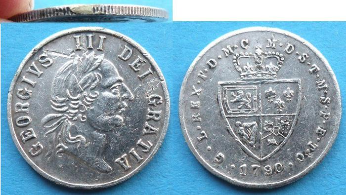 Медаль в форме гинеи 1790 года. Георг III. Великобритания791504Медаль в форме гинеи 1790 года. Георг III. Великобритания. Белый металл. Вес 7,5 г. Диаметр 2,7 см. Сохранность - Extremely Fine (XF) / Отличная. Аверс: портрет Георга III, повернутый вправо. Легенда: GEORGIVS III DEI GRATIA. Реверс: G.L.REX . F.D.M.-M.D.S.T.M.S.P.E.T.C 1790, герб Ганноверской династии. Соотношение осей аверса и реверса: 12. Гурт рубчатый.