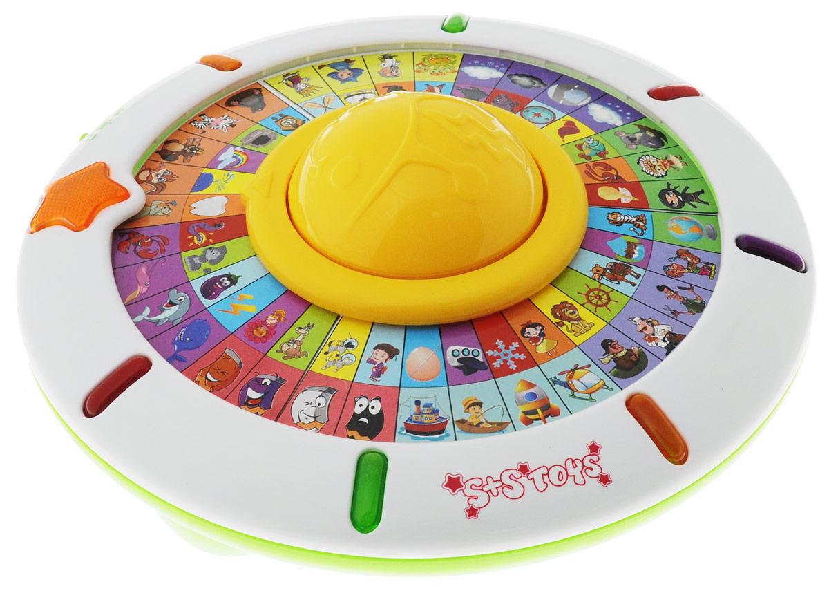 S+S Toys Интерактивная игрушка Все обо всемEC80433RИнтерактивная игрушка S+S Toys Все обо всем предназначена для детей от 3-х лет. Игра имеет 3 режима: Режим обучения. Нажмите на большую кнопку в центре диска или поверните его вручную. Стрелка укажет на один из секторов, и малыш услышит стишок, скороговорку или интересный факт про то, что изображено на внешнем круге сектора. Экзамен. Нажмите на большую кнопку в центре диска или поверните его вручную. Стрелка укажет на один из секторов, и малыш услышит вопрос про то, что изображено на внешнем рисунке сектора. Затем поверните диск так, чтобы стрелка указывала на рисунок на внутреннем круге диска, который кажется вам правильным ответом на вопрос. Музыкальная пауза. Крутите диск и слушайте разнообразные мелодии. Имеется регулировка громкости. Игрушка способствует развитию мелкой моторики, тренирует слуховое восприятие, память, внимание и мышление. Для работы игрушки необходимы 3 батарейки типа АА напряжением 1,5 V (не входят в комплект).