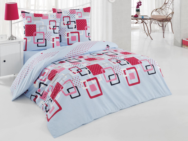 Комплект белья Tete-a-Tete Квадро, 2-спальный, наволочки 70х70, цвет: голубой. К-8065п + простыня в подарокК-8065п