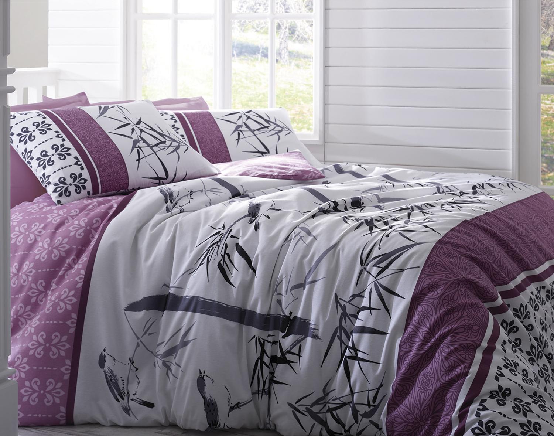 Комплект белья Tete-a-Tete Бамбук Лиловый, семейный, наволочки 70х70, цвет: фиолетовый. К-8050п + простыня в подарокК-8050п