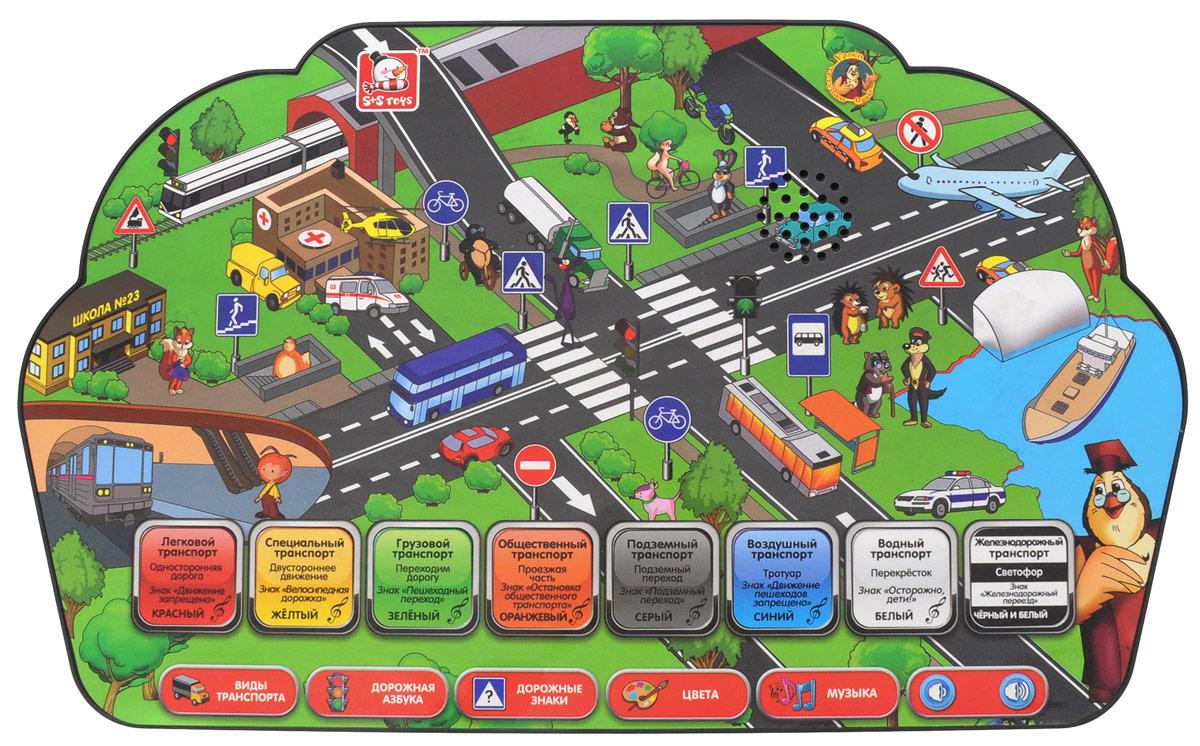 S+S Toys Интерактивный планшет Азбука безопасности на дорогеEH80079RИнтерактивный планшет Азбука безопасности на дороге предназначен для детей от 3-х лет. Весёлые обитатели Большого леса: пушистый кот Кеся, задира кот Яша, красавица кошечка Сима, щенок Буля и их многочисленные друзья, как и все дети, каждый день сталкиваются с разными ситуациями, которые возникают на дороге. Чтобы помочь им во всём разобраться и избежать опасных ситуаций, тётушка Сова рассказала им о различных видах транспорта и дорожных знаках, а также как правильно и безопасно пройти проезжую часть. Объяснила значение каждого цвета, которые ребята встречают на дорогах. Всеми этими знаниями герои сказки Уроки тётушки Совы спешат поделиться с малышом. А для того, чтобы перерыв в занятиях был интересным, вместе с героями сказки Уроки тётушки Совы можно послушать музыку из мультфильмов. Планшет служит развитию памяти, мелкой моторики, логического мышления, тренирует воображение и внимательность. Для работы игрушки необходимы 3 батарейки типа ААА...