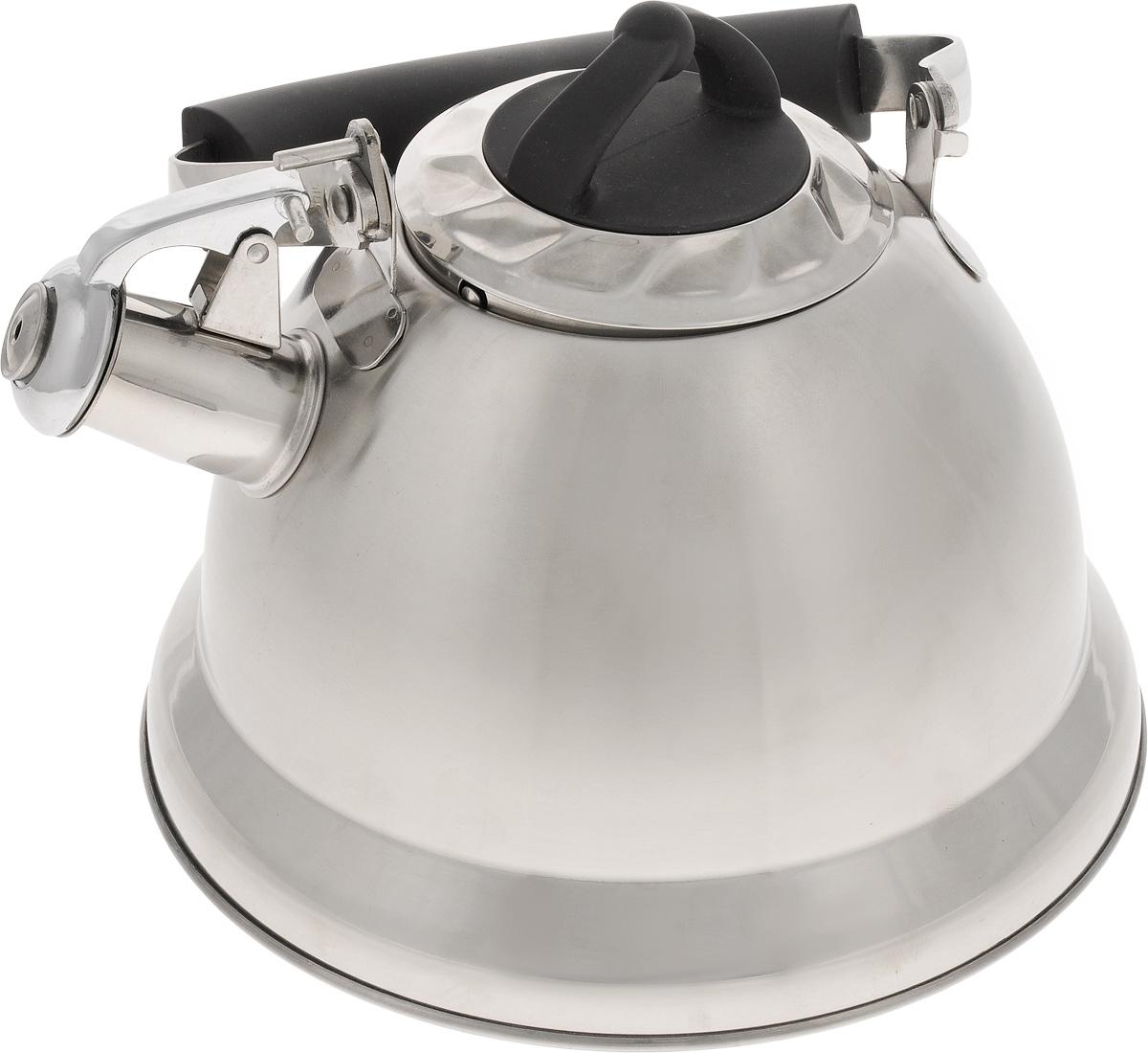 Чайник Mayer & Boch, со свистком, цвет: стальной, черный, 3,2 л. 2277922779Чайник Mayer & Boch изготовлен из высококачественной нержавеющей стали, что делает его весьма гигиеничным и устойчивым к износу при длительном использовании. Капсулированное дно обеспечивает равномерный и быстрый нагрев, поэтому вода закипает гораздо быстрее, чем в обычных чайниках. Чайник оснащен откидным свистком, звуковой сигнал которого подскажет, когда закипит вода. Подвижная ручка из стали и бакелита дает дополнительное удобство при разлитии напитка. Чайник Mayer & Boch идеально впишется в интерьер любой кухни и станет замечательным подарком к любому случаю. Подходит для газовых, стеклокерамических, индукционных и электрических плит. Можно мыть в посудомоечной машине. Высота чайника (без учета ручки и крышки): 13,5 см. Высота чайника (с учетом ручки и крышки): 24 см. Диаметр чайника (по верхнему краю): 10,5 см.