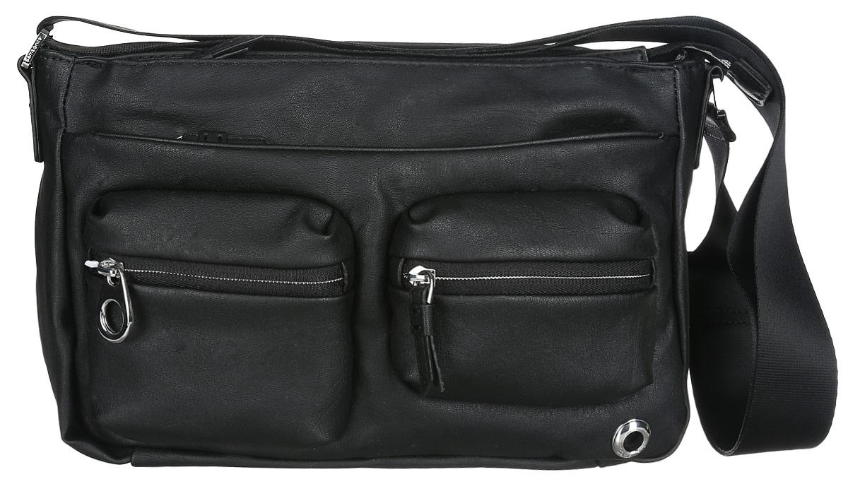 Сумка женская Samsonite, цвет: черный. 93V-0900993V-09009Практичная женская сумка Samsonite изготовлена из полиуретана, оформлена металлической фурнитурой с гравировкой в виде логотипа бренда. Изделие содержит одно основное отделение, закрывающееся на застежку-молнию. Внутри отделения расположены два накладных кармашка для мелочей и врезной карман на молнии. Лицевая сторона сумки дополнена двумя вместительными карманами на молнии и двумя объемными кармашками, каждый из которых закрывается на застежку-молнию. На задней стороне изделия расположены два врезных кармана на молниях. Сумка оснащена наплечным ремнем регулируемой длины. Стильный аксессуар позволит вам завершить образ и быть неотразимой.