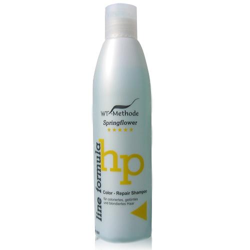 WT-Methode Шампунь для окрашенных, тонированных и осветленных волос Line formula Color Repair Shampoo Springflower 250 млWTM-PLF-01Color-Repair Shampoo – мягкий и деликатный шампунь, который благодаря тщательно подобранному составу гарантирует волосам сияющий блеск и бережный уход. Придётся по душе и женщинам, и мужчинам. Color-Repair Shampoo разработан специально для окрашенных, обесцвеченных и тонированных волос. В основе его формулы – восстанавливающие экстракты льняного семени, маслинных листьев и плодов банана. Регулярное применение шампуня вернет волосы к жизни и подарит им естественный блеск по всей длине, а также облегчит расчёсывание. Кроме того, Color-Repair Shampoo активно защищает волосы от негативного воздействия солнечных лучей, позволяя надолго сохранить яркость цвета.