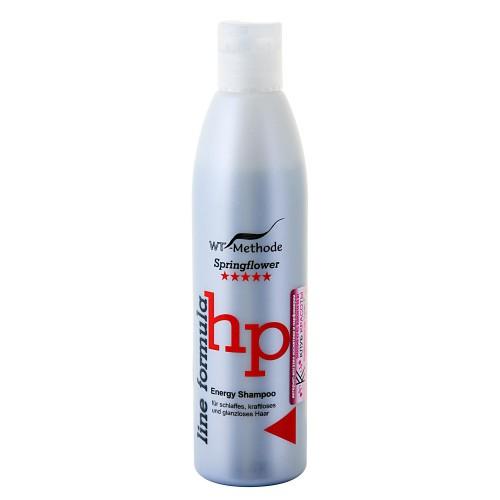 WT-Methode Шампунь для ослабленных, обессиленных и потерявших блеск волос Line formula Energy Shampoo Springflower 250 млWTM-PLF-02Energy Shampoo – шампунь, способный мгновенно преобразить волосы, подарив им силу и сияние. Если волосы обессилены, им требуются витамины и укрепление по всей длине, Energy Shampoo станет для них настоящим энергетическим коктейлем. Главная особенность шампуня – уникальный состав. Экстракт корня таёжного женьшеня увеличивает защитные функции кожи головы. Экстракт китайского чая и крапивы придает волосам блеск. Кроме того, в формулу Energy Shampoo входят протеины пшеницы, благодаря облегчённой структуре они легко проникают в верхние слои кожи головы и стимулируют поступление необходимых питательных веществ к корням волос.