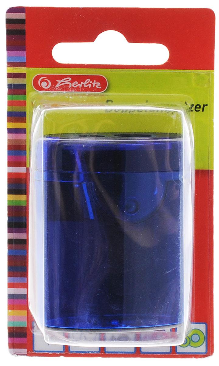 Herlitz Точилка-бочонок с 2 отверстиями цвет темно-синий8680100_темно-синийТочилка-бочонок с 2 отверстиями Herlitz, выполненная из пластика с прозрачным пластиковым корпусом, предназначена для заточки карандашей диаметром 8 мм и 11 мм. Точилка снабжена металлическими лезвиями высокого качества. Имеется контейнер для стружки.