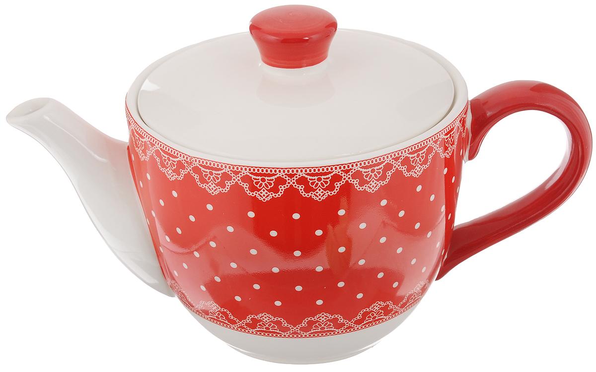 Чайник заварочный Loraine Красный узор, 900 мл25821Заварочный чайник Loraine Красный узор изготовлен из высококачественного доломита и оформлен красочным рисунком. Гладкая и идеально ровная поверхность обеспечивает легкую очистку. Чайник поможет заварить крепкий ароматный чай и великолепно украсит стол к чаепитию. Не боится низких температур. Можно мыть в посудомоечной машине. Высота чайника (без учета крышки): 10,5 см. Высота чайника (с учётом крышки): 15 см. Диаметр чайника (по верхнему краю): 13,5 см. Диаметр основания: 13,2 см.
