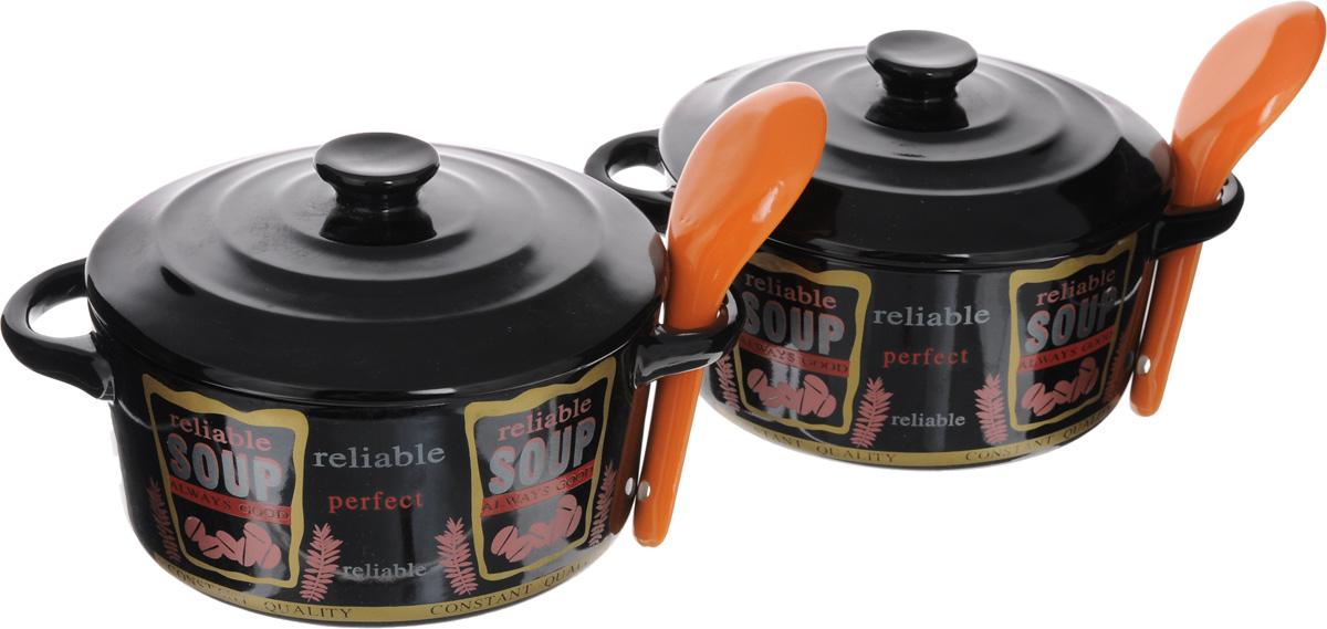 Набор супниц Loraine с крышками, с ложками, цвет: черный, красный, оранжевый, 6 предметов21275-2_оранжевые ложкиНабор Loraine состоит из двух супниц с крышками и двух ложек. Изделия выполнены из высококачественного фарфора. Внешние стенки супниц украшены надписью Soup. Идеально гладкая поверхность легко моется и обеспечивает длительный срок службы. Красивый и функциональный набор супниц Loraine оригинально дополнит обеденную сервировку стола и станет незаменимым на любой кухне. Подходит для подачи супов, каш, хлопьев и многого другого. Диаметр супницы: 14 см. Ширина супницы с учетом ручек: 19 см. Высота супницы: 7 см. Длина ложки: 13 см.