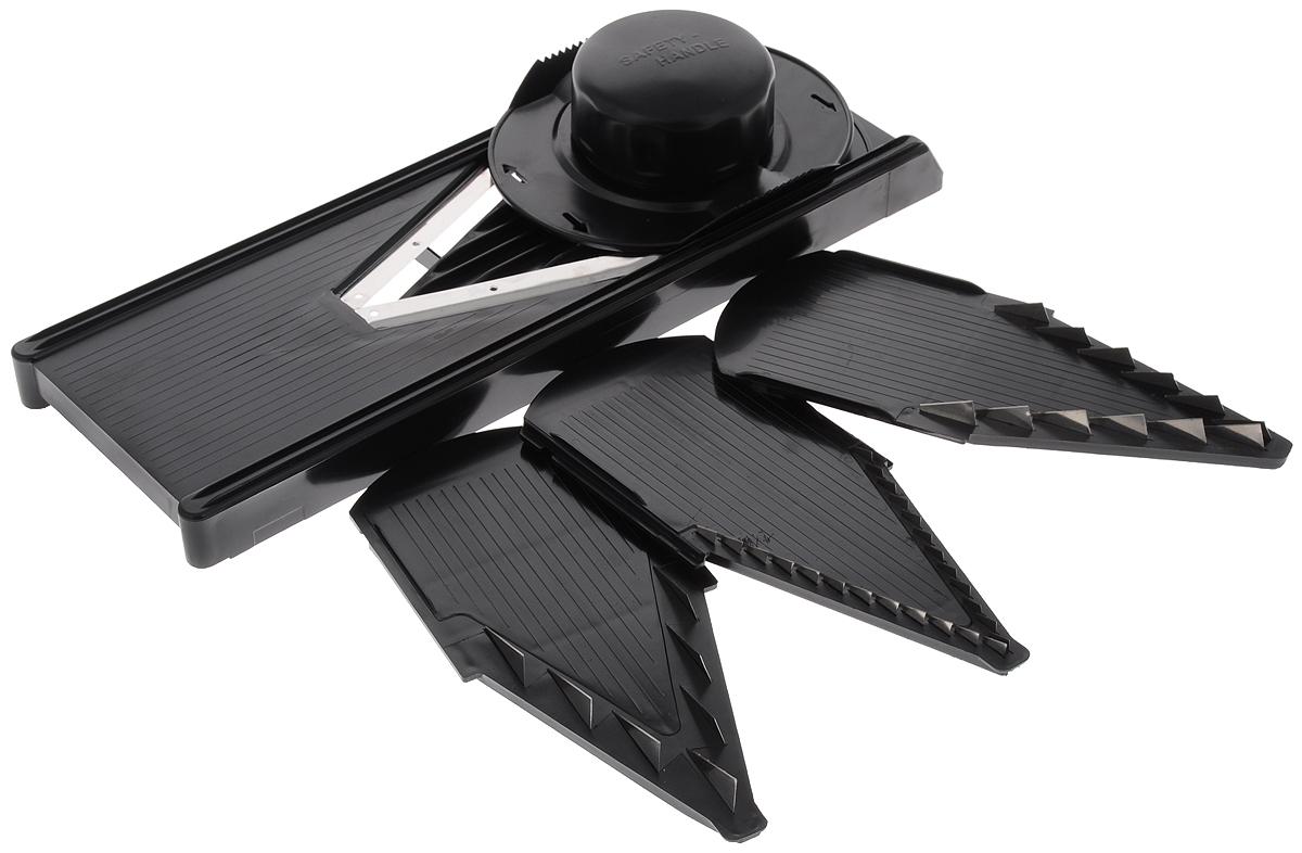 Овощерезка Super V Slicer, 4 насадки926Овощерезка Super V Slicer - это многофункциональный профессиональный прибор. Изделие позволяет нарезать продукты удивительно быстро и легко, благодаря оригинальности конструкции и целому ряду различных насадок. В комплект входит: - насадка для мелкой нарезки тонкой соломкой и мелкими кубиками 3,5 мм; - насадка для средней нарезки брусочками и кубиками среднего размера 7 мм; - насадка для крупной нарезки брусочками и крупными кубиками 10 мм; - безножевая насадка для нарезки овощей ломтиками, кольцами, полукольцами и шинковки. Овощерезка выполнена из высококачественных гигиеничных материалов. Отточенные лазером лезвия выполнены из нержавеющей стали, а корпус изготовлен из прочного пластика. Сталь не окисляется, таким образом, овощи и фрукты сохраняют полезные витамины и вещества. В комплект входит специальный плододержатель для безопасной работы. Высокая производительность, компактность и качество сделают овощерезку желанным аксессуаром на...