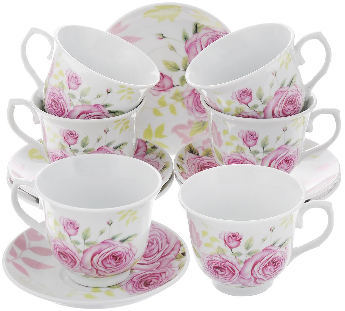 Набор чайный Loraine, 12 предметов. 2577925779Чайный набор Loraine состоит из 6 чашек и 6 блюдец. Изделия выполнены из высококачественного костяного фарфора и оформлены цветочным рисунком. Такой набор дополнит сервировку стола к чаепитию. Благодаря изысканному дизайну и качеству исполнения, он станет замечательным подарком для ваших друзей и близких. Набор упакован в подарочную коробку, задрапированную белой атласной тканью. Объем чашки: 220 мл. Диаметр чашки по верхнему краю: 8,7 см. Высота чашки: 7,5 см. Диаметр блюдца: 13,5 см. Высота блюдца: 2,2 см.