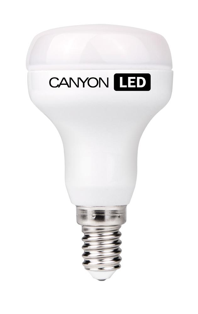 Лампа светодиодная Canyon LED R50E14FR6W230VNR50E14FR6W230VNCANYON LED R50 E14 6W 220V 4000K Лампочка традиционной формы, излучает мягкий тёплый свет. Имеет уникальный модуль COB ICE CANYON, позволяющий избежать чрезмерного нагревания. Предназначена для установки в светильниках с цоколем Е14 и E27. Является отличной современной альтернативой для обычных ламп накаливания, позволяя экономить до 90% электроэнергии