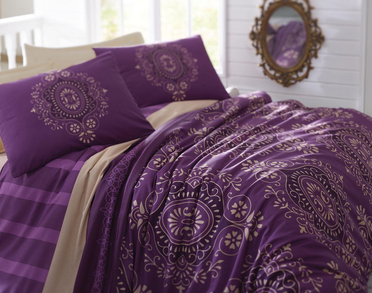 Комплект белья Tete-a-Tete Оттоман, 1,5-спальный, наволочки 70х70, цвет: фиолетовый. К-8055п + простыня в подарокК-8055п