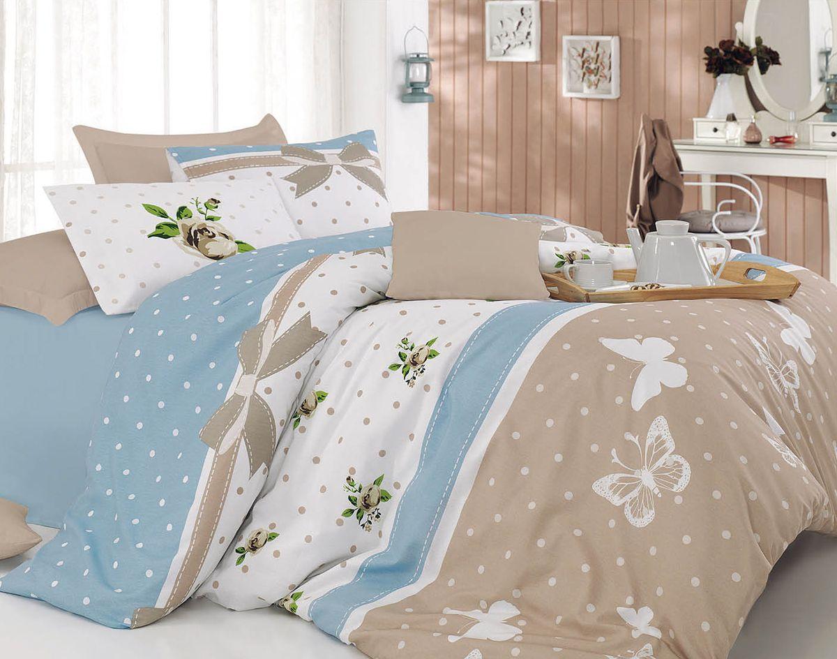 Комплект белья Tete-a-Tete Папиллон, 1,5-спальный, наволочки 70х70, цвет: голубой. К-8056п + простыня в подарокК-8056п