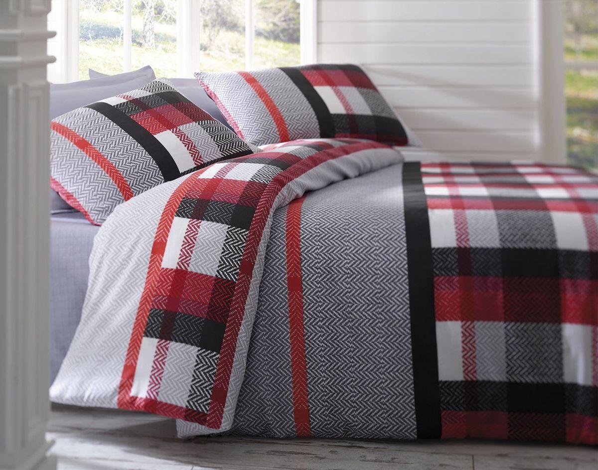 Комплект белья Tete-a-Tete Руж Красный, евро, наволочки 70х70, цвет: красный. К-8057п + простыня в подарокК-8057п