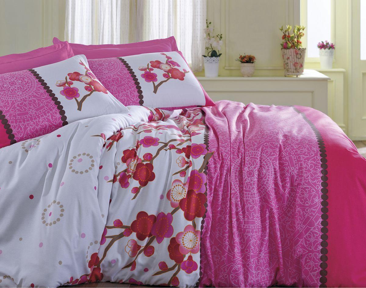 Комплект белья Tete-a-Tete Сакура, 2-спальный, наволочки 70х70, цвет: розовый. К-8059п + простыня в подарокК-8059п