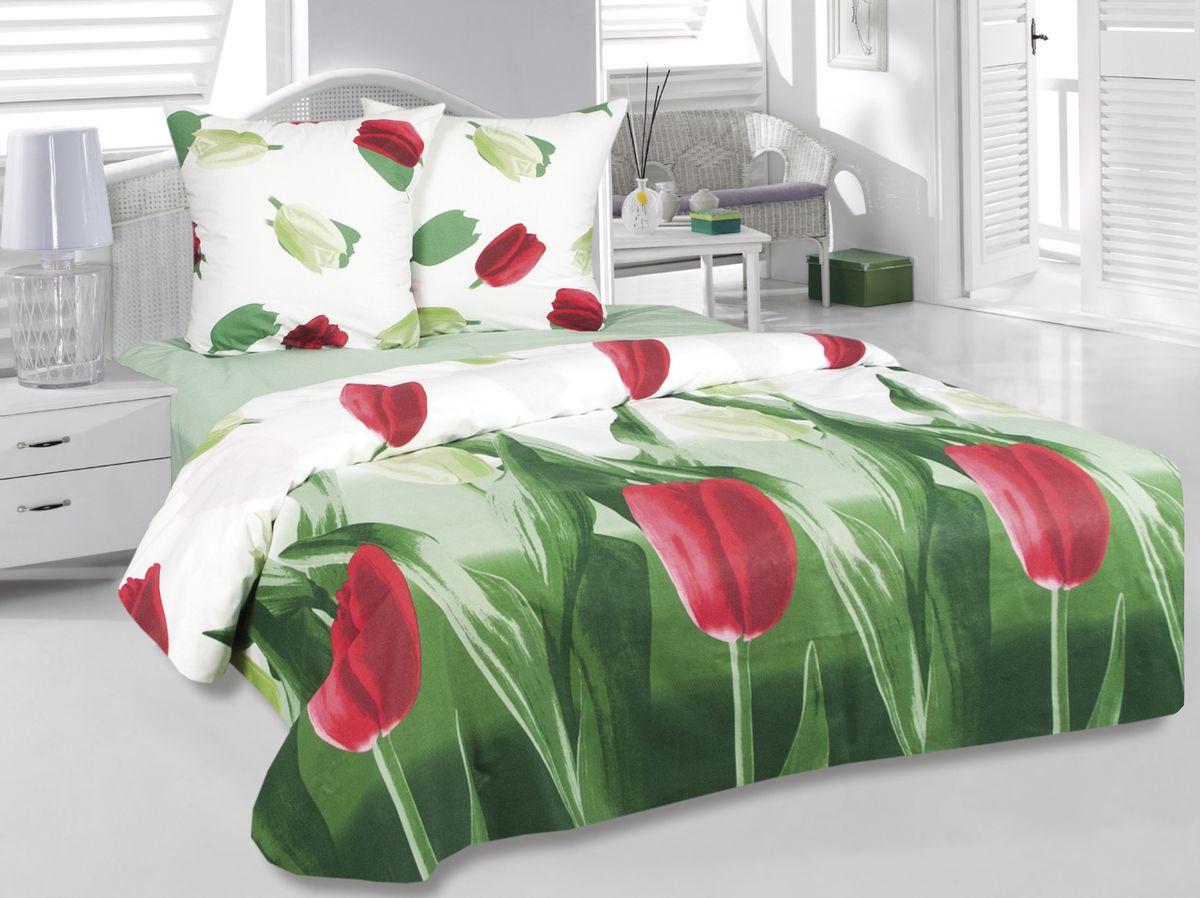 Комплект белья Tete-a-Tete Тюльпаны, 2-спальный, наволочки 70х70, цвет: зеленый. к-8075п + простыня в подарокк-8075п