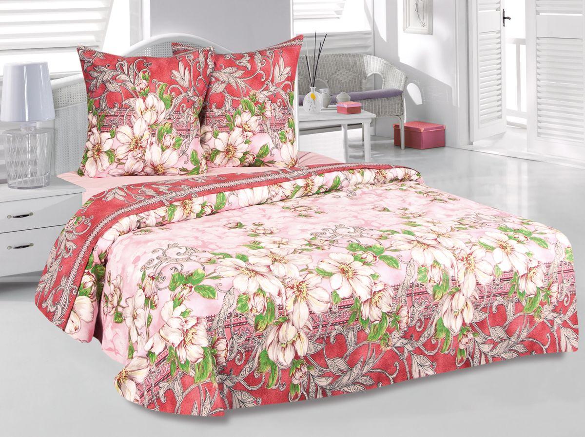 Комплект белья Tete-a-Tete Августа, 1,5-спальный, наволочки 70х70, цвет: розовый. к-8076п + простыня в подарокк-8076п