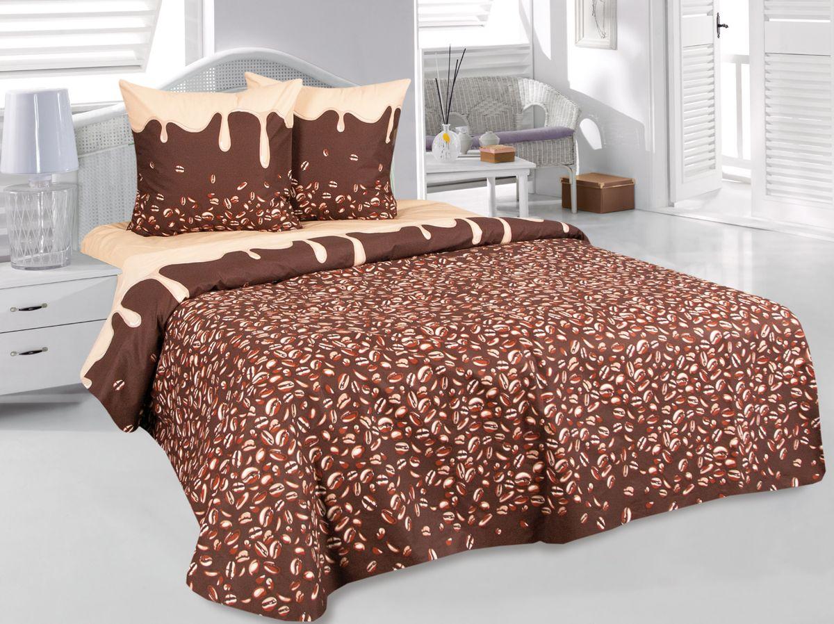 Комплект белья Tete-a-Tete Арабика, семейный, наволочки 70х70, цвет: коричневый. к-8080п + простыня в подарокк-8080п