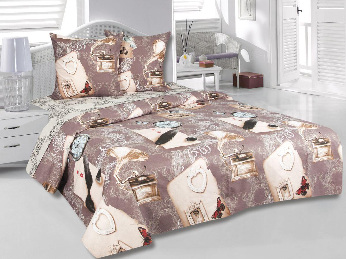 Комплект белья Tete-a-Tete Хроника, 1,5-спальный, наволочки 70х70, цвет: коричневый. к-8081п + простыня в подарокк-8081п