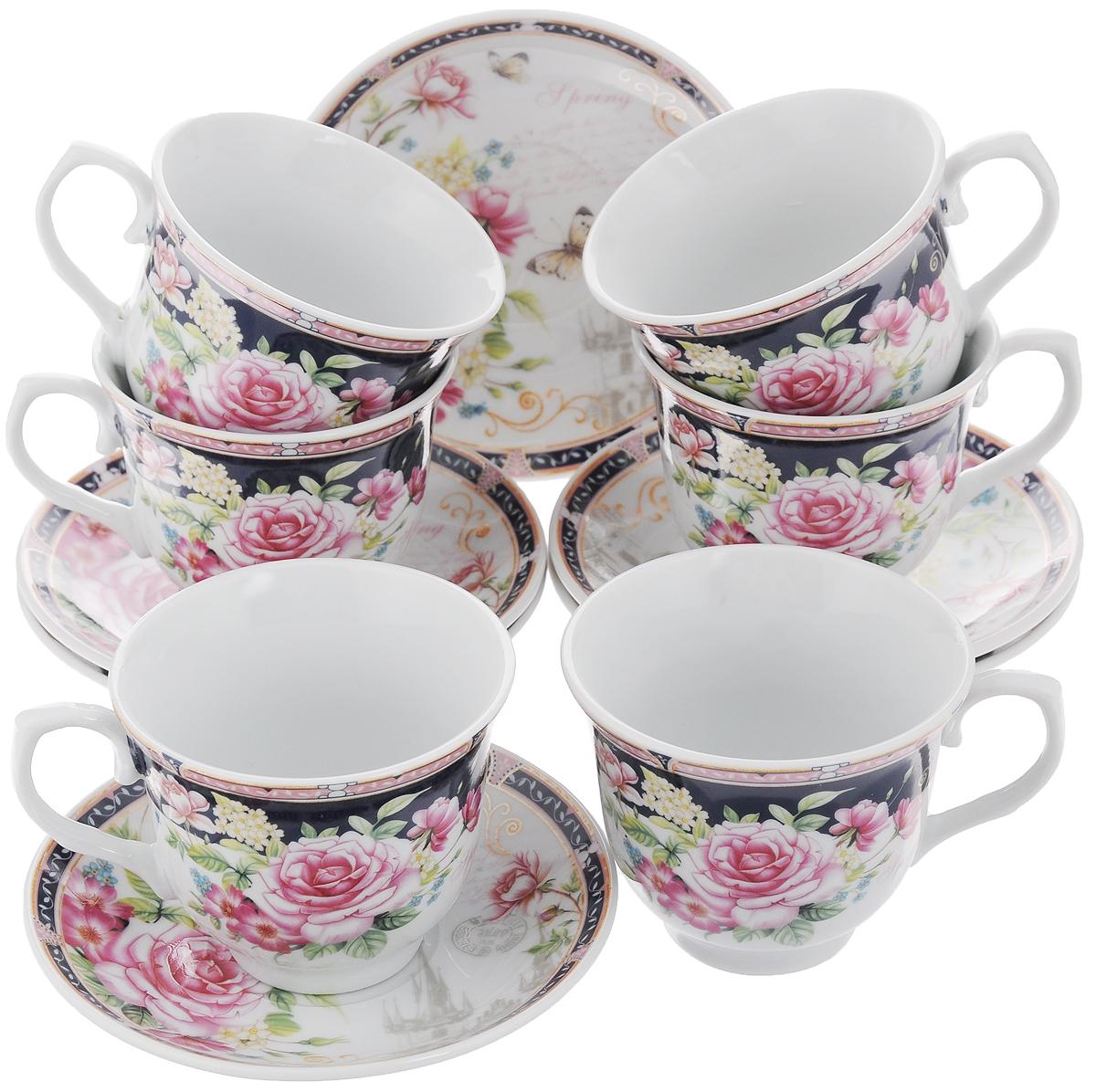 Набор чайный Loraine, 12 предметов. 2578325783Чайный набор Loraine состоит из 6 чашек и 6 блюдец. Изделия выполнены из высококачественного костяного фарфора и оформлены цветочным рисунком. Такой набор дополнит сервировку стола к чаепитию. Благодаря изысканному дизайну и качеству исполнения он станет замечательным подарком для ваших друзей и близких. Набор упакован в подарочную коробку, задрапированную белой атласной тканью. Объем чашки: 220 мл. Диаметр чашки по верхнему краю: 8,7 см. Высота чашки: 7,5 см. Диаметр блюдца: 13,5 см. Высота блюдца: 2,2 см.