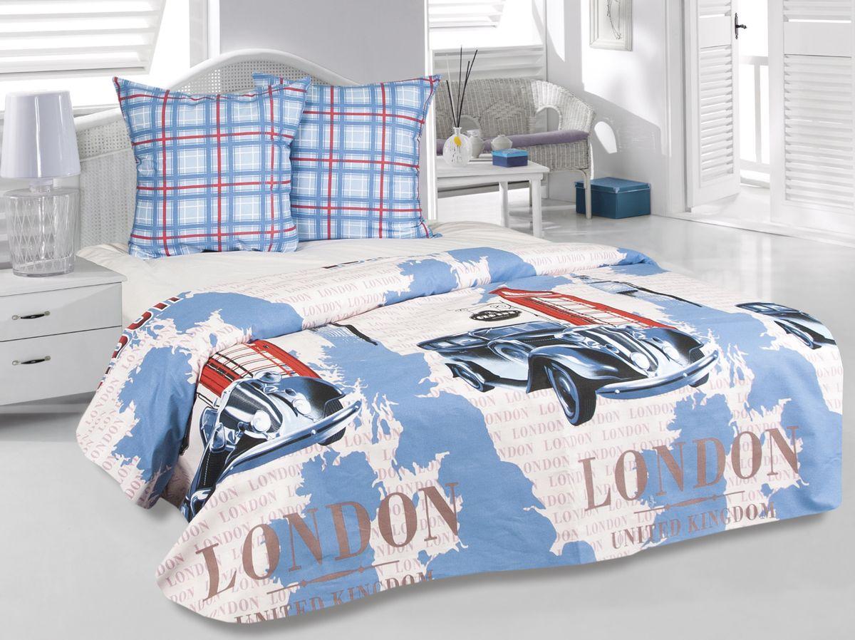 Комплект белья Tete-a-Tete Лондон, 1,5-спальный, наволочки 70х70, цвет: голубой. к-8087п + простыня в подарокк-8087п
